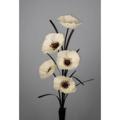 Single Stem Artificial Silk 5-Headed Poppy | Artificial Poppy