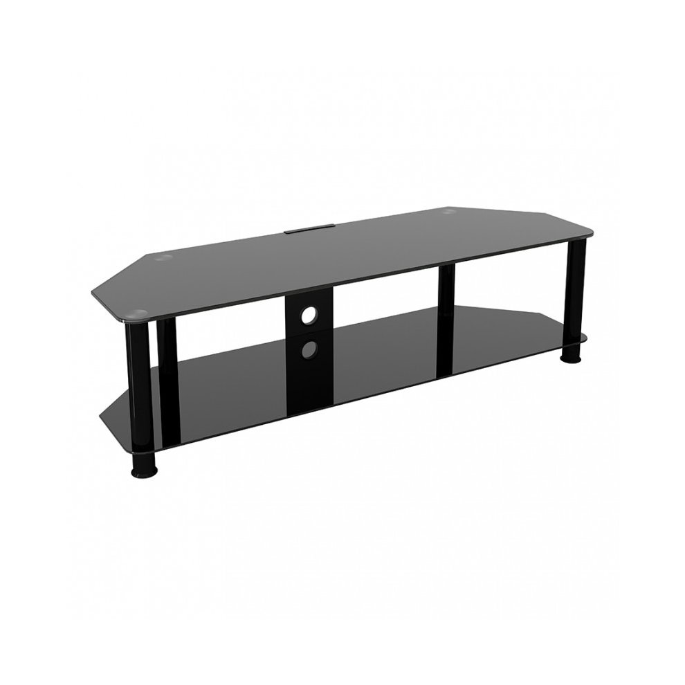 King Glass Tv Stand 140cm Black Legs Black Glass Cable Management For Tvs Up To 65 On Onbuy