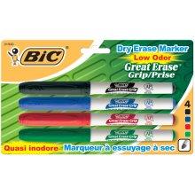 BIC Great Erase Low Odor Dry-Erase Fine Point Markers 4/Pkg-Black, Blue, Red & Green