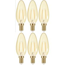 6 X Energizer Filament LED 2.6w = 16w SES E14 Warm White Candle 200lm  [Energy Class A+]