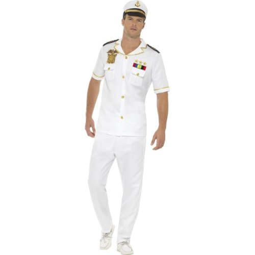Mens Navy Naval Officer Uniform Captain Fancy Dress Costume Adults Outfit