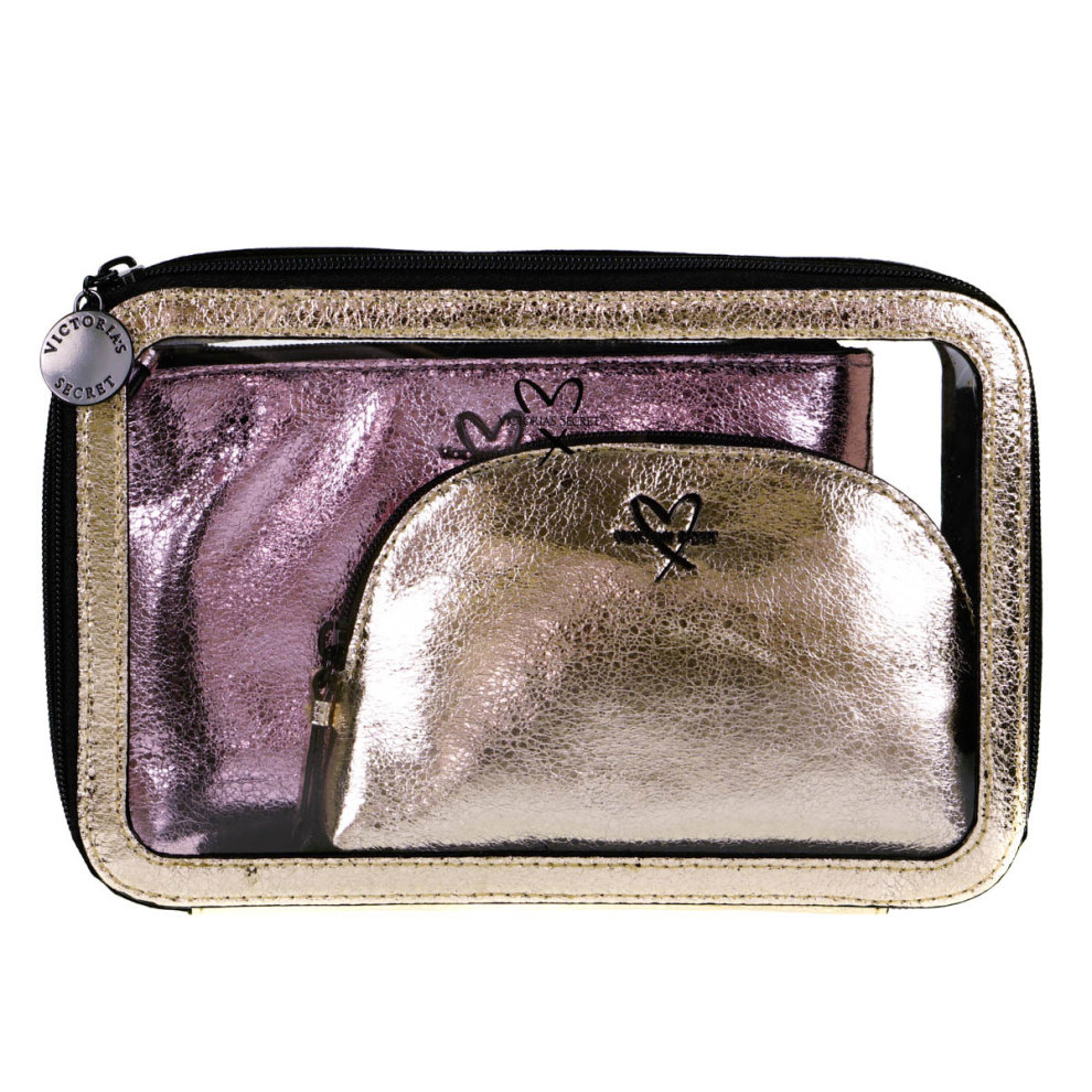 Victoria's Secret Gold and Pink Cosmetic Bag 3 Piece Set