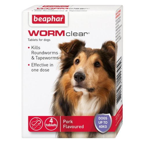 Beaphar Wormclear Dog Up to 40kg 4 Tablets
