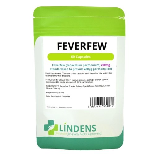 Lindens Feverfew 60 Capsules 200mg Containing 0.4mg Parthenolide