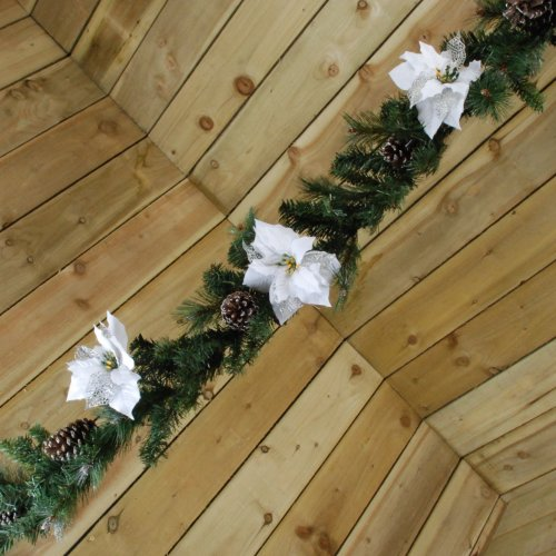 1.8M (6ft) Christmas Silver Poinsettia and Cone Garland