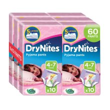 60pk Huggies DryNites Pyjama Pants For Girls - Ages 4-7