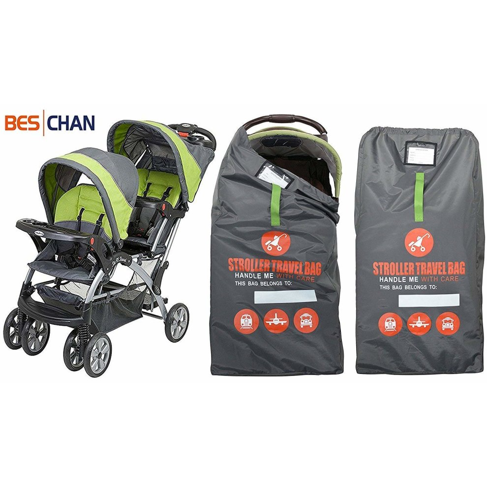 Beschan Standard or Double//Dual Stroller Gate Check Bag XL Travel Bag Foldable for Airport Car Trips Airplane Gate Check