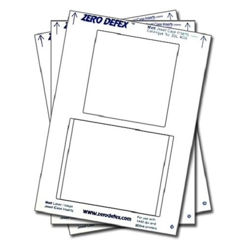 Zero Defex Matt CD Jewel Case Inserts - ZDL4006