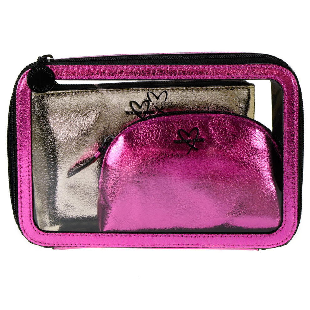 Victoria's Secret Hot Pink and Gold Cosmetic Bag 3 Piece Set