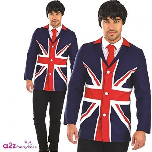 60s Mod Jacket Mens Fancy Dress British Flag Union Jack Adult ...