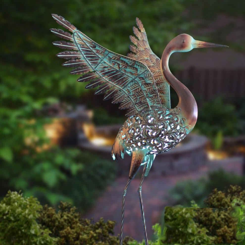 Solar Light Heron Metal Garden Statue