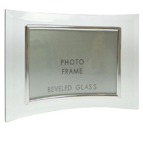 Sixtrees Curved Bevelled Glass Silver 8x6 Photo Frame Horizontal