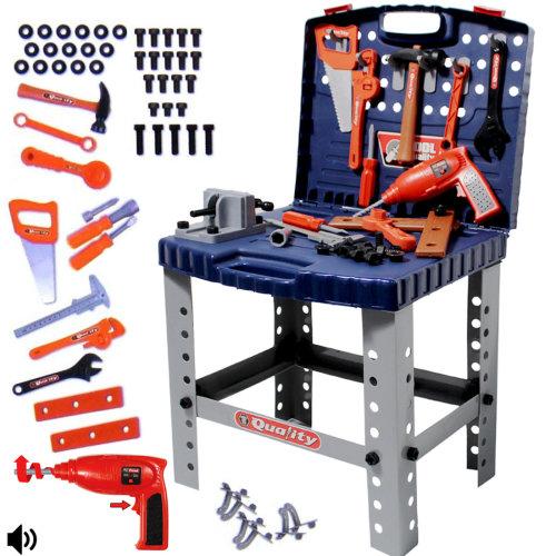 deAO Childrens Toy Folding Workbench & Tool Set | Toy Tool Kit & Play Set
