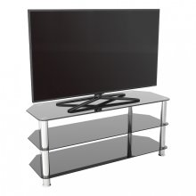 King Glass TV Stand 114cm, Chrome Legs, Black Glass, for TVs up to 55""
