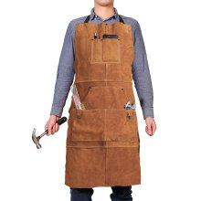"""Leather Welding Apron with 6 Pockets - Heavy Duty Work Aprons for men - 24"""" X 36"""" Heat & Flame-Resistant Tools Apron, Brown"""