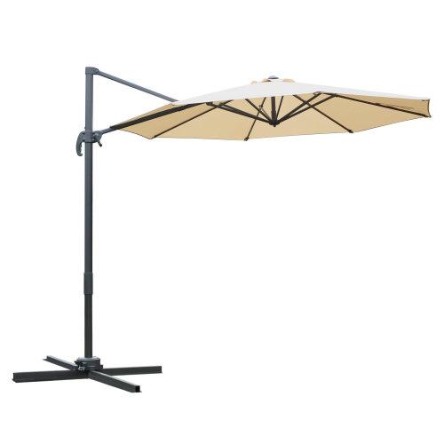 Outsunny 3M Offset Sun Parasol Cantilever Banana Umbrella Hanging 360 Rotation