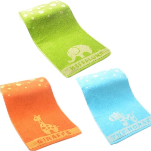 Set of 3 Cartoon Animals Cotton Baby Washcloths Soft Face Towels for Kids