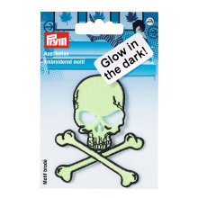 Prym Iron On Patch Skull Glow In The Dark Motif Trimming Application