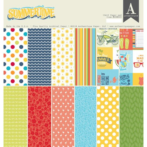 "Authentique Double-Sided Cardstock Pad 12""X12"" 24/Pkg-Summertime, 12 Designs/2 Each"
