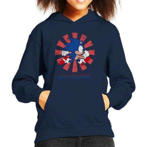 (Medium (7-8 yrs), Navy Blue) Sonic The Hedgehog Retro Japanese Kid's Hooded Sweatshirt