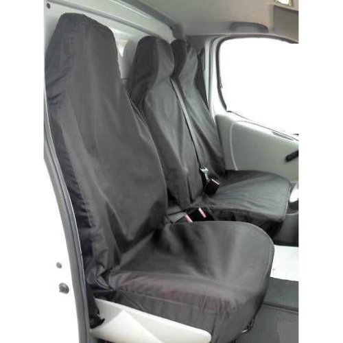 RENAULT TRAFIC 2005 DCI HEAVY DUTY BLACK WATERPROOF VAN SEAT COVERS 2+1