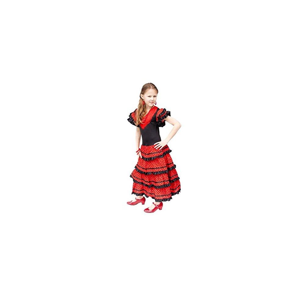 Red//Black La Senorita Spanish Flamenco Dress Fancy Dress Costume Girls//Kids