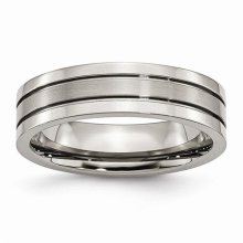 Chisel TB59-13 6 mm Titanium Grooved Brushed & Polished Band - Size 13