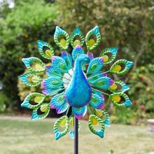 Free Standing Decorative SOLAR Peacock Design Wind Spinner