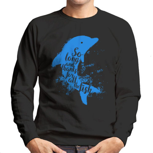 (X-Large, Black) So Long And Thanks For All The Fish Hitchhikers Guide To The Galaxy Men's Sweatshirt