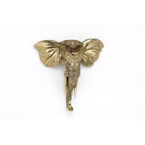 31Cm Wall Mounted Decorated African Elephant Head Golden