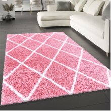 Fluffy Rug Pink Blush Shaggy Carpet Soft Thick Large Small Geometric Dimaond Pattern for Living Room Bedroom