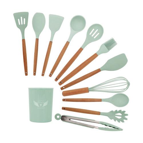 (Green) 11pc Silicone Kitchen Utensils Set | Cooking Tools Kit