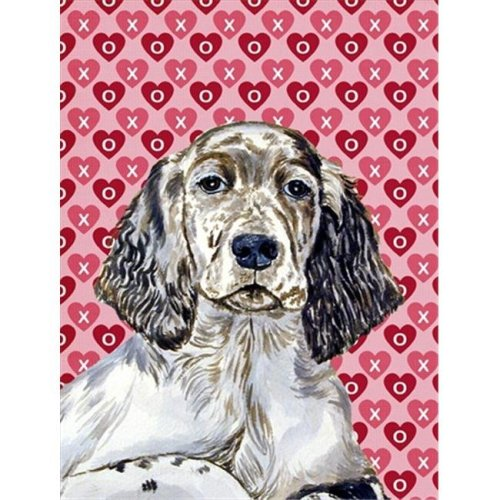 11 x 15 in. English Setter Hearts Love And Valentines Day Portrait Flag Garden Size