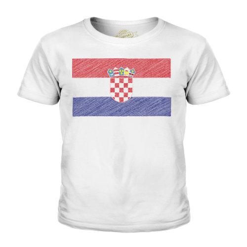 (White, 7-8 Years) Candymix - Croatia Scribble Flag - Unisex Kid's T-Shirt