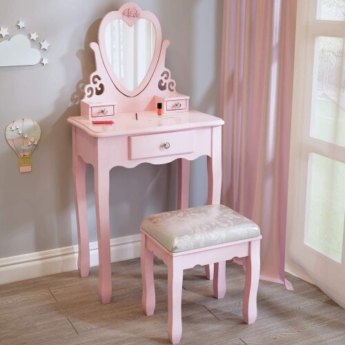 Pink love heart dressing table with mirror and stool