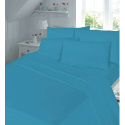 (Teal, Super King ) Flannelette Thermal Soft Brushed Cotton Flat Sheet