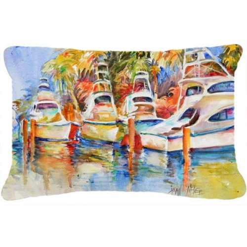 Deep Sea Fishing Boats At The Dock Canvas Fabric Decorative Pillow