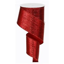 Red Metallic Wired Ribbon (10 Yards x 25 Inches) Christmas Valentines Day