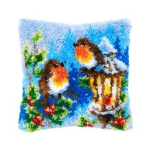 """Latch Hook Complete Cushion Cover Kit """"Robins on Lamp""""43x43cm"""