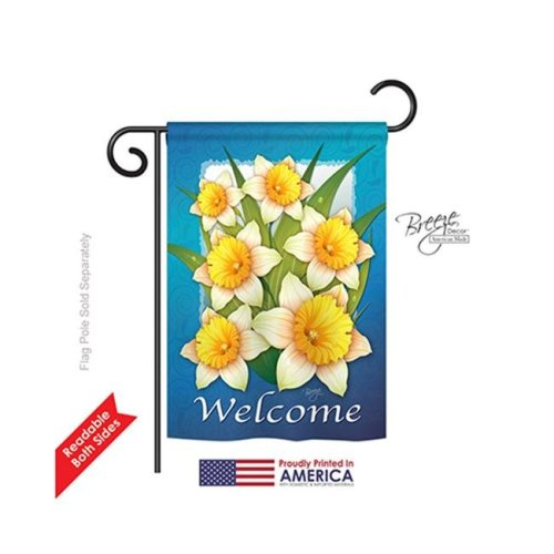 Breeze Decor 54070 Floral Daffodils 2-Sided Impression Garden Flag - 13 x 18.5 in.
