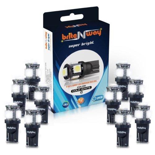 10pc Cool White LED 12v Car Light Bulb Set