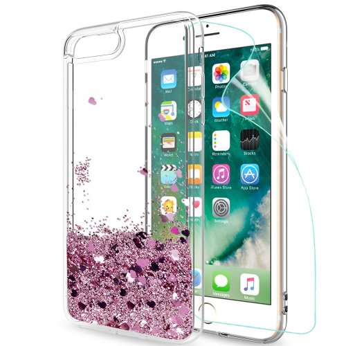iphone 7 Plus / iphone 8 Plus Case Glitter Liquid with HD Screen Protector, LeYi Luxury Sparkly Bling Quicksand Cute for Girls Women Clear...