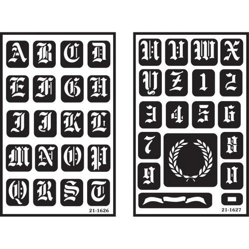 "Over'n'over Reusable Stencils 5""x8"" 2/pkg-Old English Alphabet"