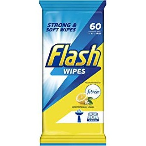 Flash All Purpose Wipes for Fast And Powerful Cleaning Lemon 60pk
