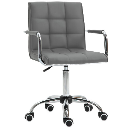 Vinsetto Mid Back Home Office Chair Swivel Salon Stool with Arm, Wheel, Grey