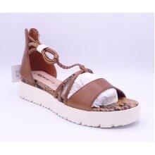 Tamaris Women's Cognac Brown Snake Leather Sandals
