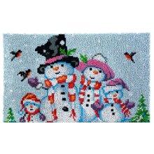 Snowman Family Rug Latch Hooking Kit (85x58)