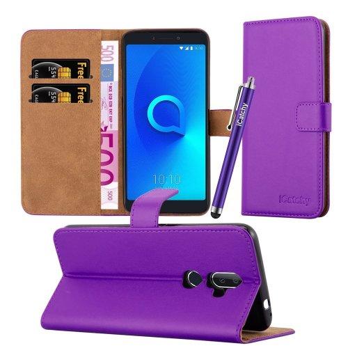 (Purple) For Alcatel 3V Premium Leather Wallet Case Cover
