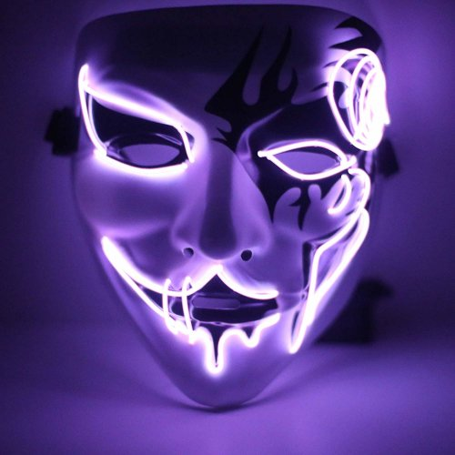 Ranpo LED El Wire Mask Purple Light Up For Halloween Festival Cosplay