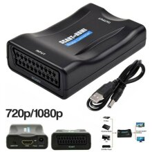 SCART to HDMI Adapter 1080P Video Audio Upscale Converter USB Cable For TV DVD